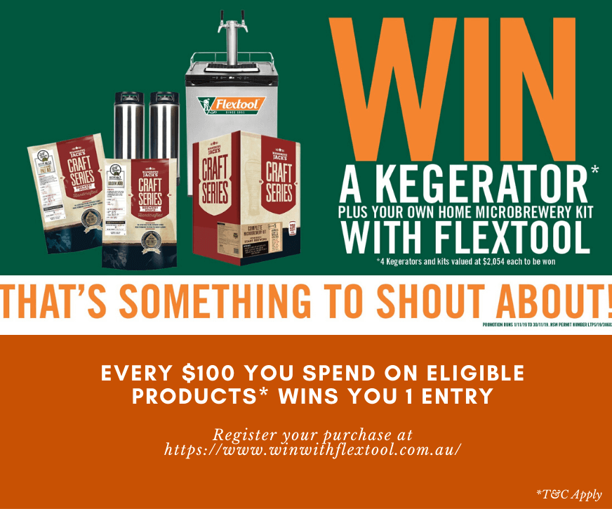 win a kegrator with flextool products - special at budget landscape & building supplies