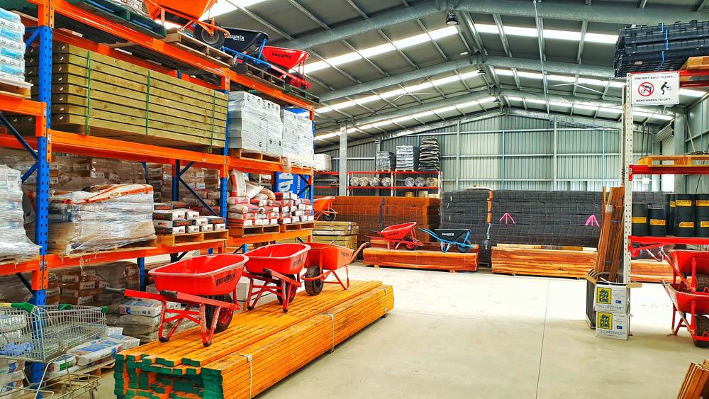 Photo shows the inside of Budget Landscape bulk steel reinforcing warehouse.