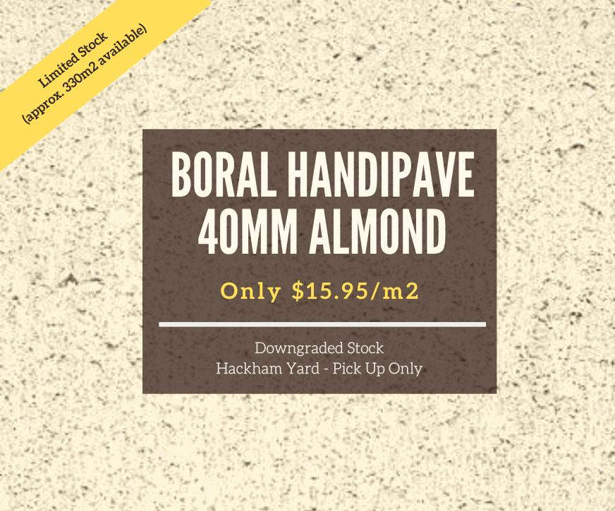 BORAL 40MM ALMOND HANDIPAVE -July 2020