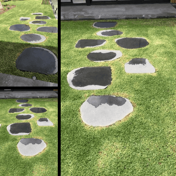 BLUESTONE ROUND STEPPING STONES used by a client in their Seaford backyard
