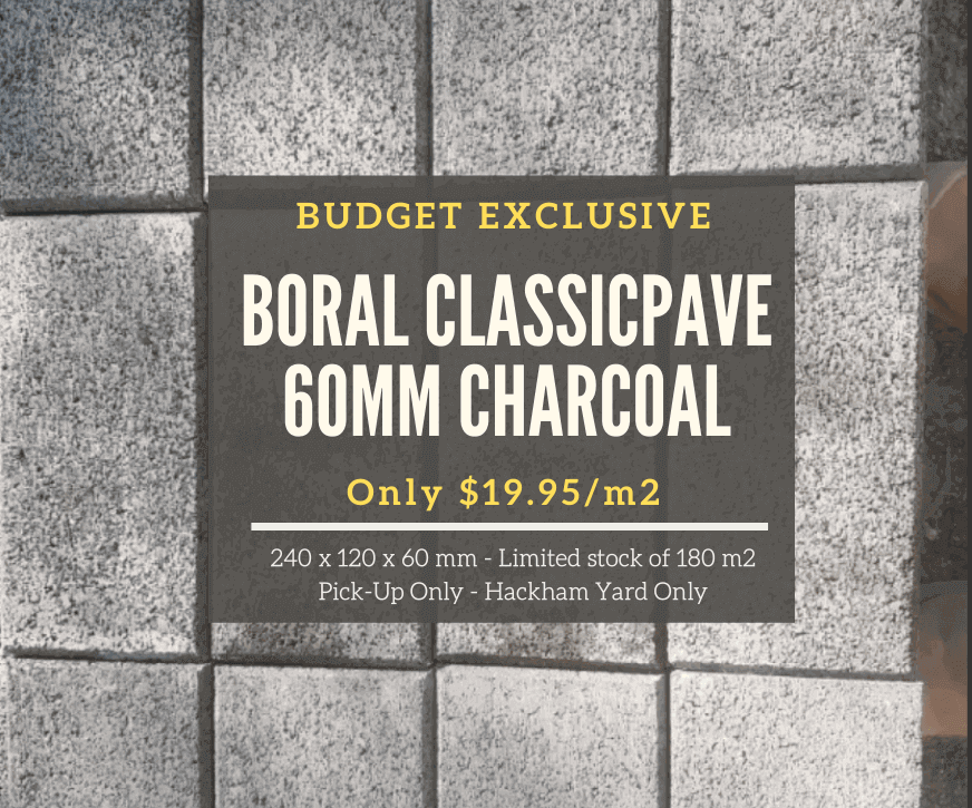 Boral Classicpave 60mm Charcoal Pavers