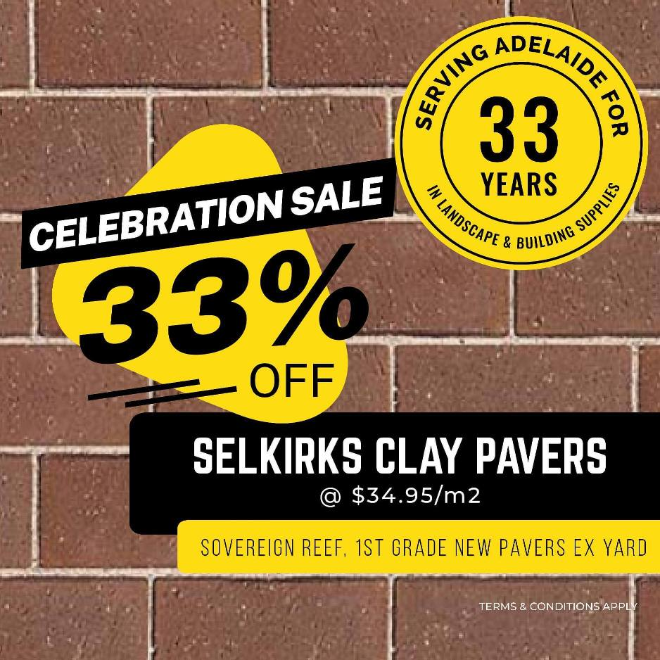 WEEKLY SPECIALS - Selkirks Clay Pavers Sale 33% off