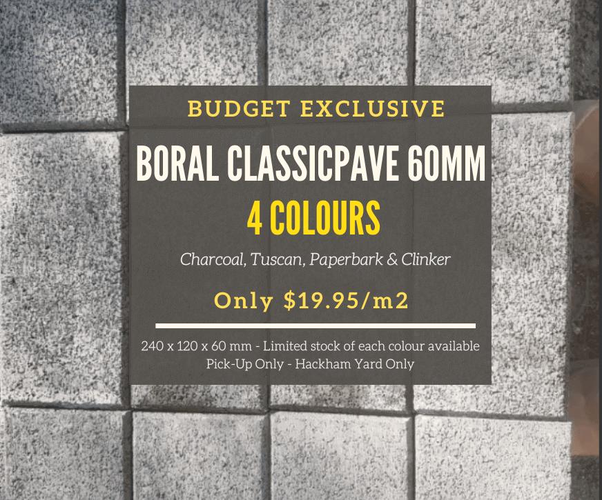 BORAL CLASSICPAVE 60MM PAVERS